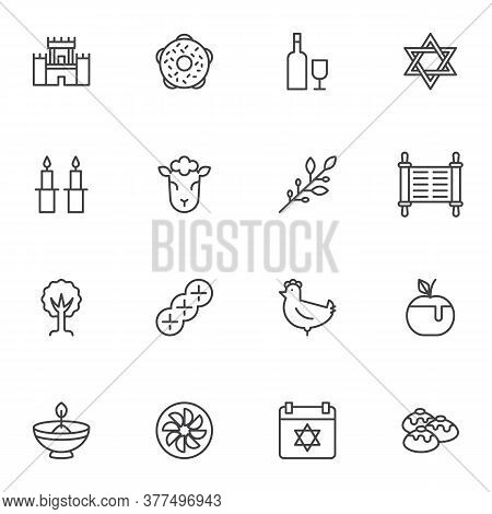 Judaism Related Line Icons Set, Outline Vector Symbol Collection, Linear Style Pictogram Pack. Signs