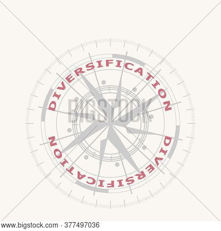 Brochure Or Report Design Element. Business Concept. Ancient Compass Symbol And Diversification Word