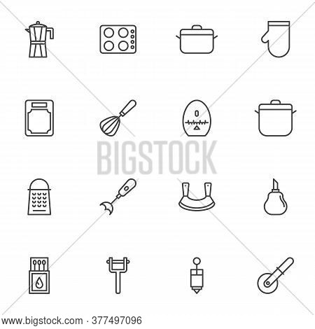 Kitchenware Line Icons Set, Kitchen Utensils Outline Vector Symbol Collection, Linear Style Pictogra