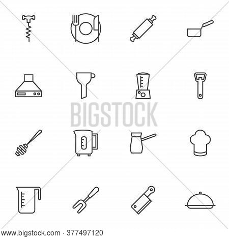 Kitchen Utensils Line Icons Set, Kitchenware Outline Vector Symbol Collection, Linear Style Pictogra