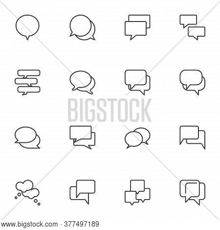 Speech Bubbles Line Icons Set, Outline Vector Symbol Collection, Linear Style Pictogram Pack. Signs,