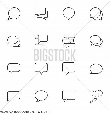 Empty Speech Bubbles Line Icons Set, Outline Vector Symbol Collection, Linear Style Pictogram Pack.