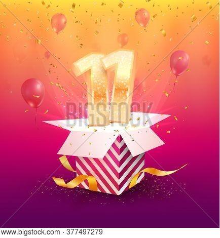 11 Years Anniversary Vector Design Element. Isolated Eleven Years Jubilee With Gift Box, Balloons An
