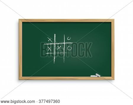 Realistic Vector Green Blackboard With Chalk Hand Drawing Tic Tac Toe Game. Class Chalkboard In Wood