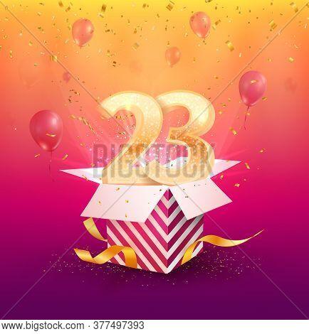 23 Th Years Anniversary Vector Design Element. Isolated Twenty Three Years Jubilee With Gift Box, Ba