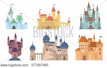 Medieval Castles Set. Fairytale Fortresses And Towers With Flags. Ancient Mansion Buildings In Gothi