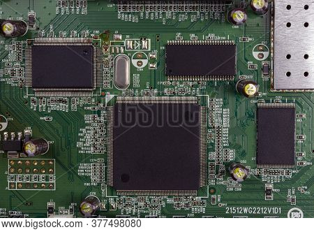 Close-up Of Electronic Circuit Board Pcb With Components: Microchip, Processor, Integrated Circuits,