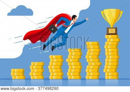 Super Businessman With Briefcase Goes To Golden Trophy Goal. Business Man Look Up To The Target On C