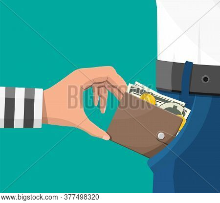 Human Hand In Prison Robe Takes Money Cash From Pocket. Thief Pickpocket Stealing Dollars Banknotes