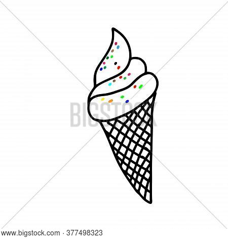 Black Hand-drawn Vector Illustration Of One Fresh Cold Ice Cream In A Waffle Cone With Colored Caram