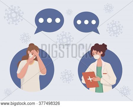 Young Woman Infected With Coronavirus Calling Doctor Vector Flat Illustration. If You Have Covid-19