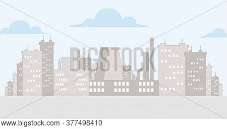 Cityscape Vector Cartoon Outline Illustration With Sky And Clouds. Urban Landscape, Skyline City, Ap