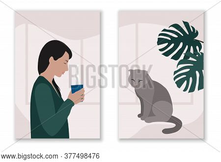 White Woman With Black Hair In Green Cardigan Standing With Cup Of Hot Drink And Sitting Gray Cat Wi
