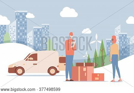 Fast Delivery Service Vector Flat Illustration. Man In Respiratory Mask Deliver Goods To Woman On Th