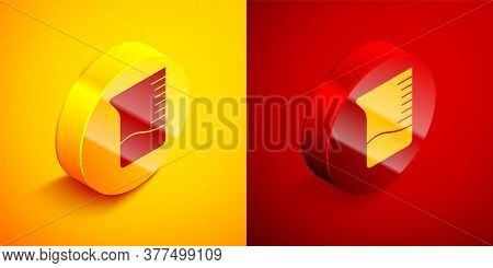 Isometric Measuring Cup Icon Isolated On Orange And Red Background. Plastic Graduated Beaker With Ha