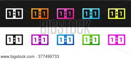 Set Sport Mechanical Scoreboard And Result Display Icon Isolated On Black And White Background. Vect