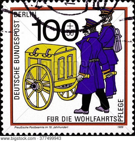 02 09 2020 Divnoe Stavropol Territory Russia The Postage Stamp Germany West Berlin 1989 Mail Transpo