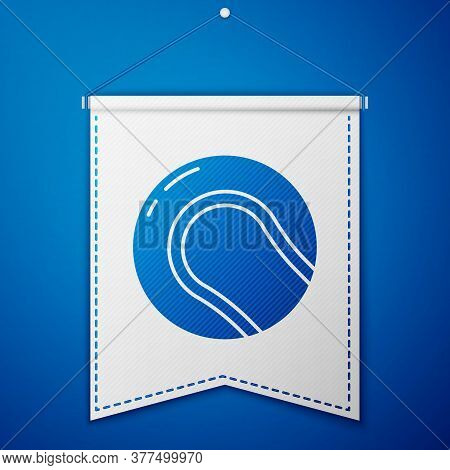 Blue Baseball Ball Icon Isolated On Blue Background. White Pennant Template. Vector Illustration