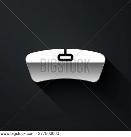 Silver Windshield Icon Isolated On Black Background. Long Shadow Style. Vector Illustration