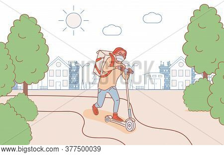 Young Man In Medical Face Mask Riding On Scooter Outdoor And Deliver Products Vector Cartoon Outline