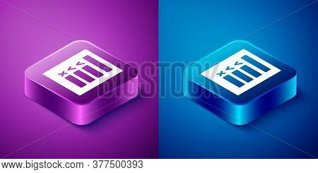 Isometric Car Inspection Icon Isolated On Blue And Purple Background. Car Service. Square Button. Ve