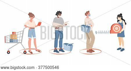 People Stand In Line And Keep Safe Social Distance In The Shop Vector Flat Illustration. Men And Wom