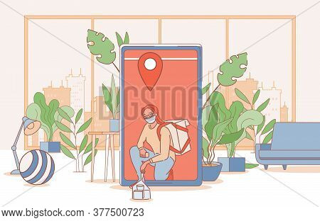 Non Contact Online Delivery Vector Cartoon Outline Illustration. Girl In Face Mask Deliver Grocery F