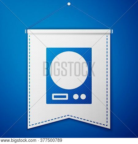 Blue Electronic Scales Icon Isolated On Blue Background. Weight Measure Equipment. White Pennant Tem