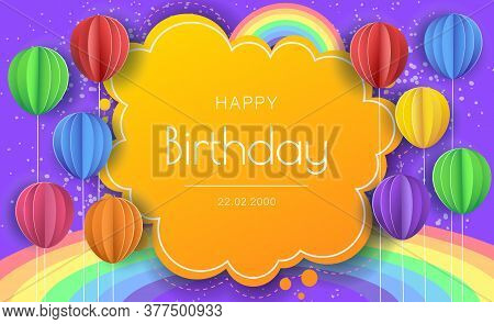 Birthday banner with paper balloons.  Happy birthday illustration, Happy birthday banner, Happy birthday background, Happy birthday card. Celebration birthday party invitation background with greetings and colorful balloons and birthday elements.