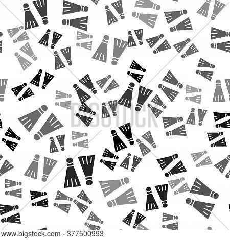 Black Rubber Flippers For Swimming Icon Isolated Seamless Pattern On White Background. Diving Equipm