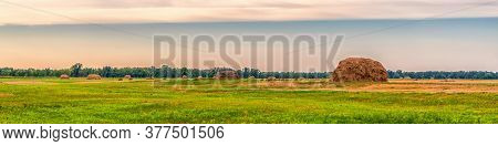 Picturesque Panoramic Summer Landscape With Beveled Meadow And Haystacks In Cloudy Morning. Hay Harv