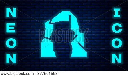 Glowing Neon Grand Canyon Icon Isolated On Brick Wall Background. National Park In Arizona United St