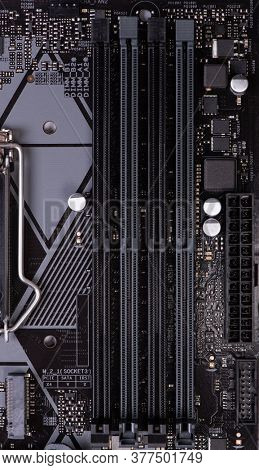 Computer mother board close-up. Circuit board background