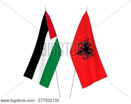 National Fabric Flags Of Palestine And Albania Isolated On White Background. 3d Rendering Illustrati