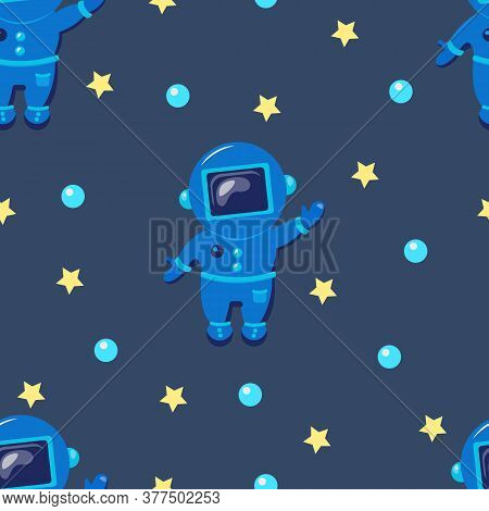 Space, Cosmos Flat Seamless Pattern. Planet Seamless Pattern.