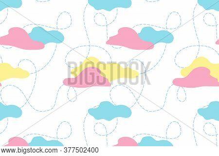 Sleepy Cloud Vector Seamless Pattern. Nice Cloudy Sky Illustration For Pajama, Fabric, Textile, Wall