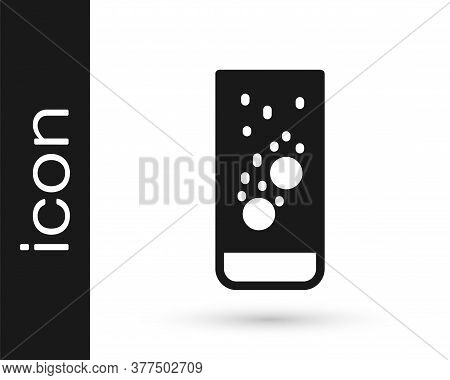 Grey Effervescent Aspirin Tablets Dissolve In A Glass Of Water Icon Isolated On White Background. Ve