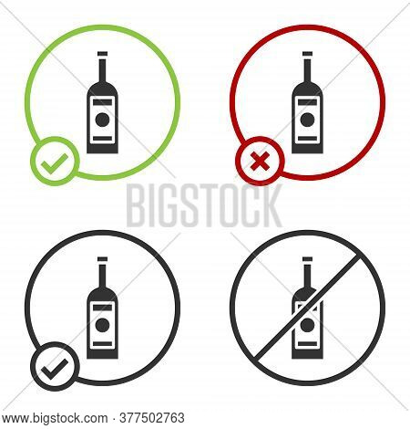 Black Glass Bottle Of Vodka Icon Isolated On White Background. Circle Button. Vector Illustration