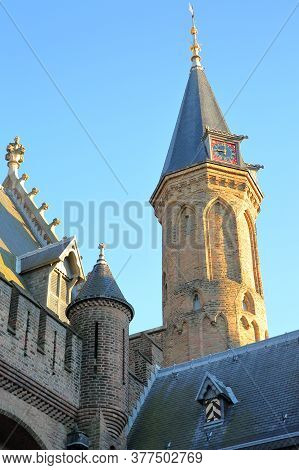 Close-up On A Turret Of The Ridderzaal (knight's Hall), Which Forms The Center Of The Binnenhof (13