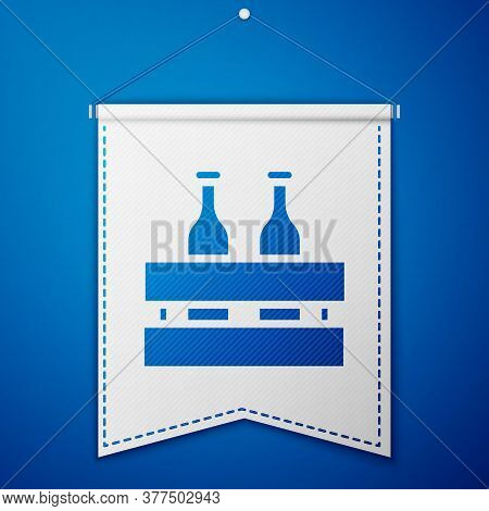 Blue Pack Of Beer Bottles Icon Isolated On Blue Background. Wooden Box And Beer Bottles. Case Crate