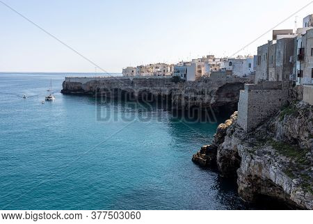 View Of Polignano A Mare - Picturesque Little Town On Cliffs Of The Adriatic Sea. Apulia, Southern I