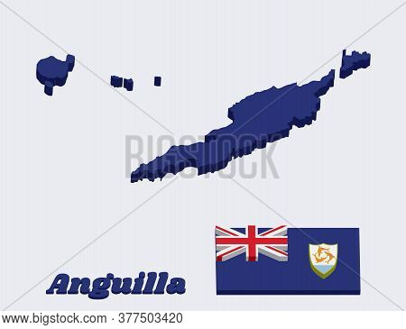 3d Map Outline And Flag Of Anguilla, Blue Ensign With The British Flag In The Canton, Charged With T