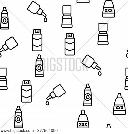 Lubricant Container Vector Seamless Pattern Thin Line Illustration