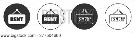 Black Hanging Sign With Text Rent Icon Isolated On White Background. Signboard With Text For Rent. C