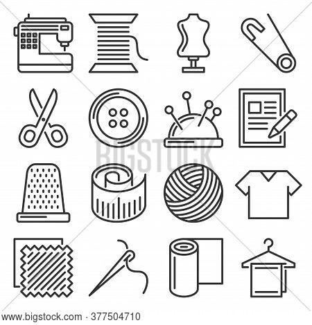 Tailor And Knitting Sewing Icons Set. Vector