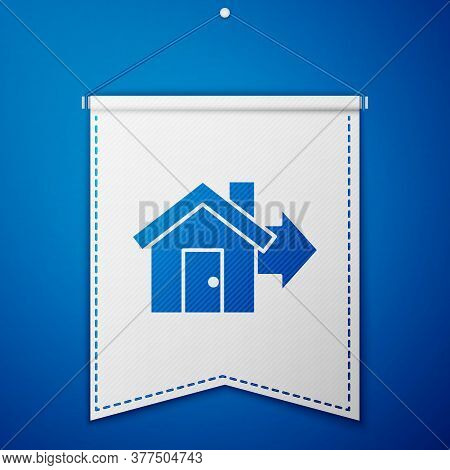 Blue Sale House Icon Isolated On Blue Background. Buy House Concept. Home Loan Concept, Rent, Buying