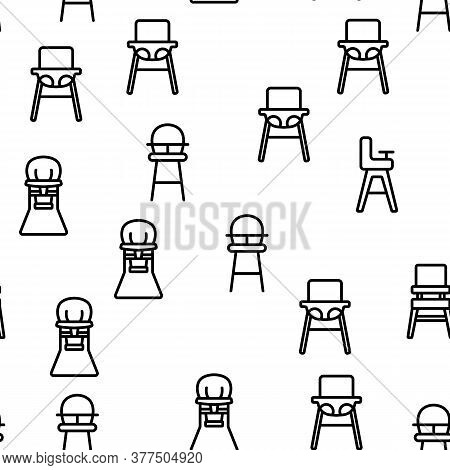 Feeding Baby Chair Vector Seamless Pattern Thin Line Illustration
