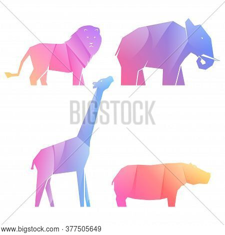 Set Of Multi-colored Gradient African Animals In Different Poses, Lion And Hippo, Elephant And Giraf