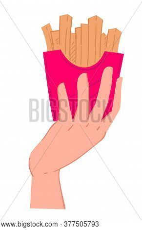 Hand Holding Pack Of Salty French Fries Vector