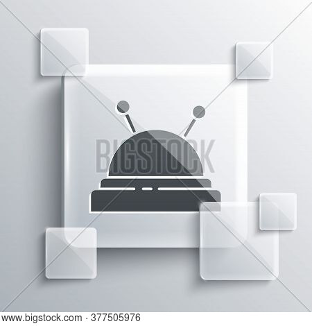 Grey Needle Bed And Needles Icon Isolated On Grey Background. Handmade And Sewing Theme. Square Glas